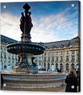 Place De La Bourse Buildings At Dusk Acrylic Print