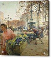 Place Du Theatre Francais Paris Acrylic Print by Eugene Galien-Laloue