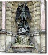 Place Saint Michel Statue And Fountain In Paris France Acrylic Print