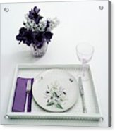 Place Setting With With Flowers Acrylic Print
