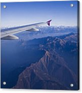 Plane Flying In Mountain Acrylic Print