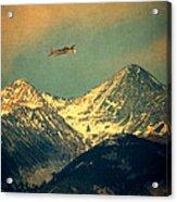 Plane Flying Over Mountains Acrylic Print