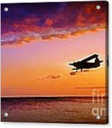 Plane Pass At Sunset Acrylic Print