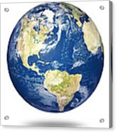 Planet Earth On White - America Acrylic Print by Johan Swanepoel