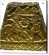 Plaque With Scythian Warriors. Gold Acrylic Print