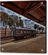 platform view of the first railway station of Tel Aviv Acrylic Print