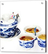 Playing Among Blue-and-white Porcelain Little People On Food Acrylic Print by Paul Ge