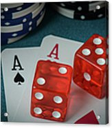 Playing Cards And Dice Used With Gamling Chips Acrylic Print