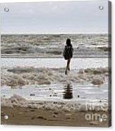 Girl Playing In Sea Foam Acrylic Print