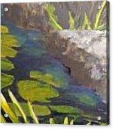 Playing Koi Under The Rocks Acrylic Print