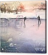 Playing On Ice Acrylic Print