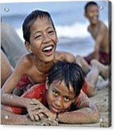Playing On The Beach Acrylic Print by Achmad Bachtiar