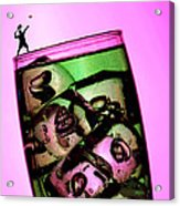Playing Tennis On A Cup Of Lemonade Little People On Food Acrylic Print