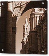 Plaza De Armas   Arequipa    Peru - Sepia Acrylic Print