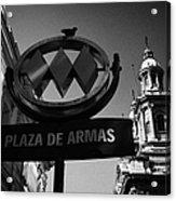 plaza de armas metro station near Santiago Metropolitan Cathedral Chile Acrylic Print