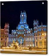 Plaza De Cibeles At Night In Madrid Acrylic Print