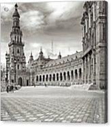 Plaza De Espana Seville Bw Acrylic Print