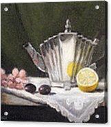 Pleated Teapot With Lemon Acrylic Print