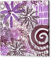 Plum And Grey Garden- Abstract Flower Painting Acrylic Print
