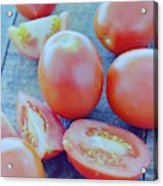 Plum Tomatoes On A Wooden Board Acrylic Print by Romulo Yanes