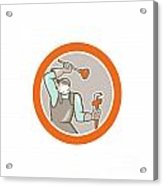 Plumber Wielding Plunger Wrench Circle Cartoon Acrylic Print
