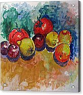 Plums Lemons Tomatoes Acrylic Print by Vladimir Kezerashvili