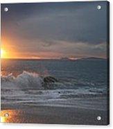 Point Mugu 1-9-10 Sun Setting With Surf Acrylic Print