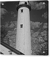 Pointe Aux Barques Lighthouse Black And White Acrylic Print
