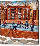 Pointe St. Charles Hockey Rink Southwest Montreal Winter City Scenes Paintings Acrylic Print
