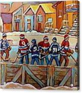 Pointe St. Charles Hockey Rinks Near Row Houses Montreal Winter City Scenes Acrylic Print