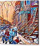 Pointe St.charles Hockey Game Near Winding Staircases Montreal Winter City Scenes Acrylic Print