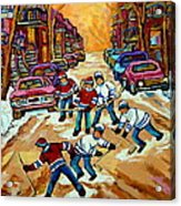 Pointe St.charles Hockey Game Winter Street Scenes Paintings Acrylic Print