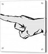 Pointing Finger Vector Black And White Acrylic Print