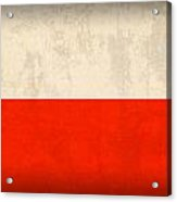 Poland Flag Distressed Vintage Finish Acrylic Print by Design Turnpike