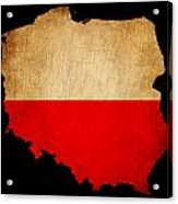 Poland Grunge Map Outline With Flag Acrylic Print
