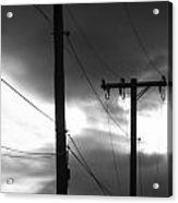 Poles And Sunsets In Black And White Acrylic Print