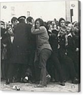 Police Hold Back Screaming Fans Trying To Get Tickets Acrylic Print