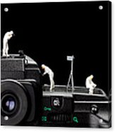 Police Investigate On A Camera Acrylic Print by Paul Ge