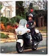 Police - Motorcycle Cop On Patrol Acrylic Print