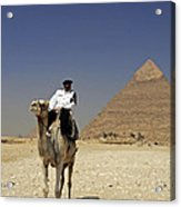Police Officer On A Camel In Front Of Pyramid In Cairo Egypt Acrylic Print