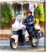 Police - Suburban Motorcycle Cop Acrylic Print