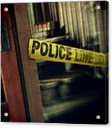Police Tape Blocking Bloody Stairs Acrylic Print