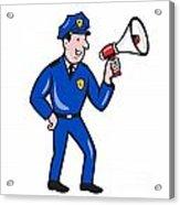 Policeman Shouting Bullhorn Isolated Cartoon Acrylic Print