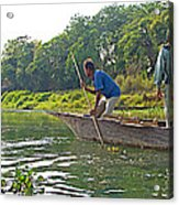 Poling A Dugout Canoe In The Rapti River In Chitwan National Park-nepal Acrylic Print