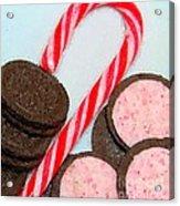 Polka Dot Candy Cane Cookies Acrylic Print