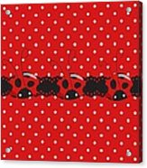 Polka Dot Lady Bugs Graphics By Kika Esteves  With Custom Coordinated Design Crafted By D Miller.  Acrylic Print