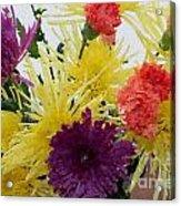 Polka Dot Mums And Carnations Acrylic Print