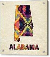 Polygon Mosaic Parchment Map Alabama Acrylic Print
