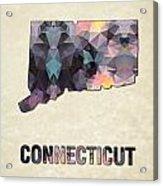 Polygon Mosaic Parchment Map Connecticut Acrylic Print