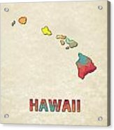 Polygon Mosaic Parchment Map Hawaii Acrylic Print